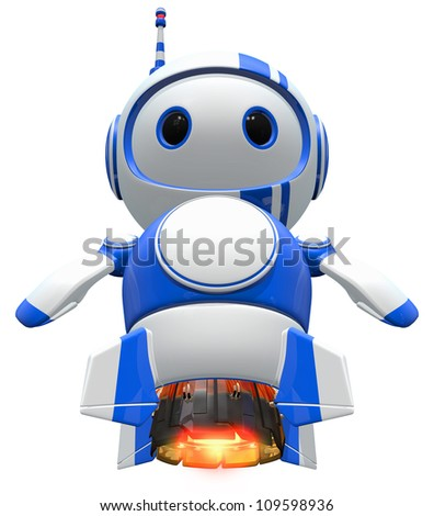 Robot blasting off, with jet engines burning. - stock photo