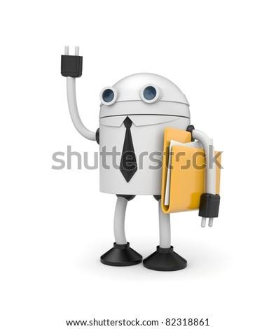 Robot businessman with folder - stock photo
