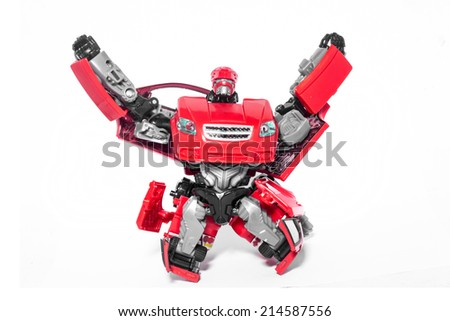 Robot car red on white background.