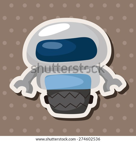 robot , cartoon sticker icon - stock photo