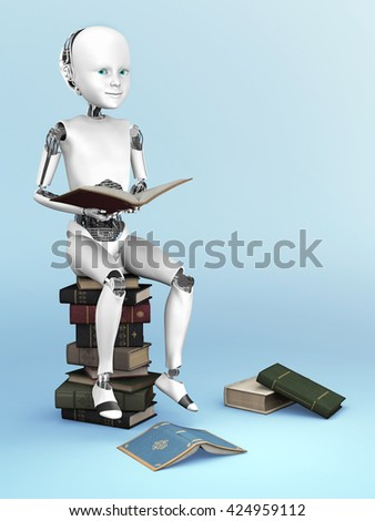 Robot child sitting on a pile of books and reading. A few books are lying on the floor around it. 3D rendering. Bluish background.