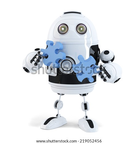 Robot connecting puzzle pieces. Technology concept. Isolated. Contains clipping path - stock photo