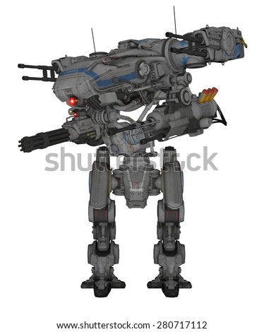 Robot - 3D rendered fantasy machine - stock photo