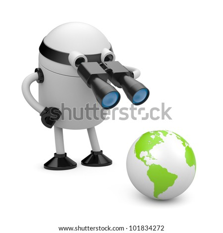 Robot explore the globe. Image contain clipping path - stock photo