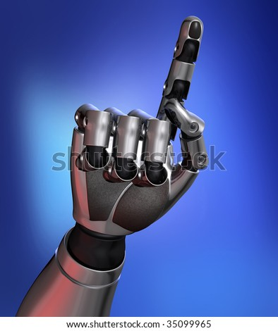 Robot finger counting to one in blue background - stock photo