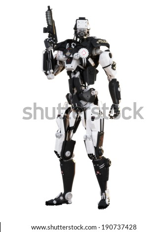 Robot Futuristic Police Armored Mech Weapon On A White Background With Clipping Path