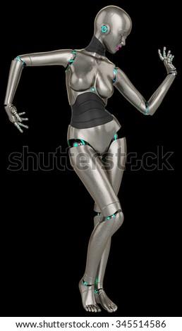 robot girl belly dance - stock photo