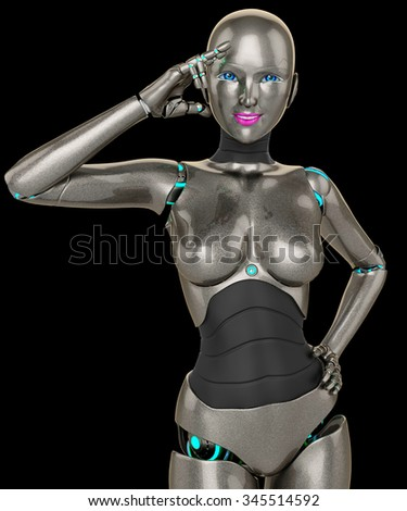robot girl peace of mind - stock photo