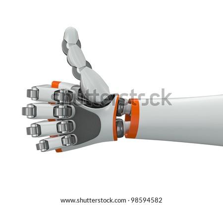 Robot hand doing thumbs up gesture - stock photo