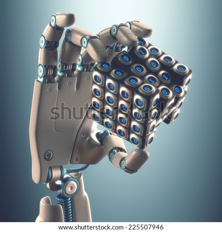 Robot hand holding a binary cube concept of logical processing. Clipping path included. - stock photo