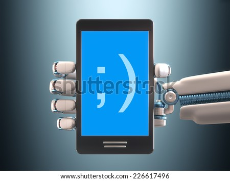 Robot hand holding a cell phone. Your text on the blue screen. Clipping path included. - stock photo