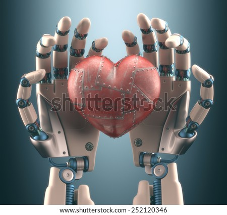 Robot hand holding a metal heart. Clipping path included. - stock photo