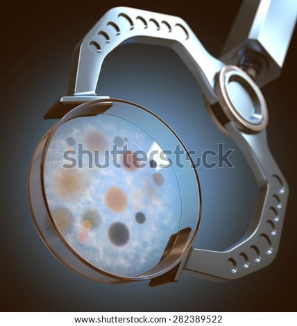 Robot hand holding a petri dish with colonies of bacteria and fungi. 3D image with depth of field. - stock photo