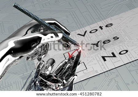 robot hand is voting with  digital pen, 3d illustration - stock photo