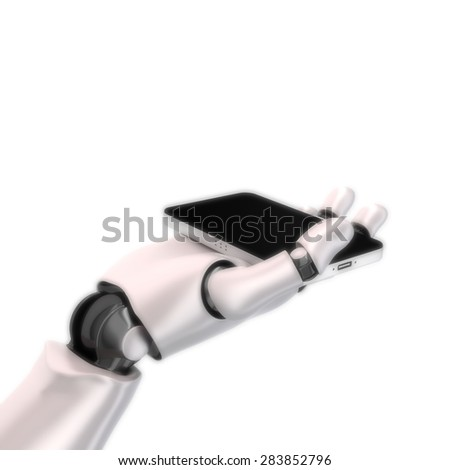 robot hand phone high quality 3d render - stock photo