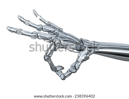 Robot hand shows okay, ok, very well  gesture or keeps something.  isolated on white background - stock photo