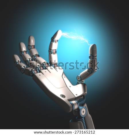 Robot hand with electricity between the toes. - stock photo