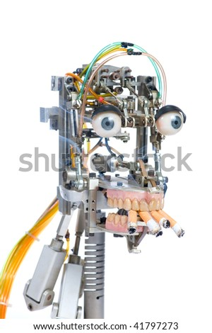 Robot head isolated on the white background