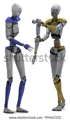 Robot helping robot - stock photo