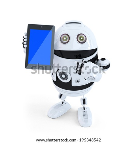 Robot Holding A Tablet. Isolated. Contains clipping path - stock photo