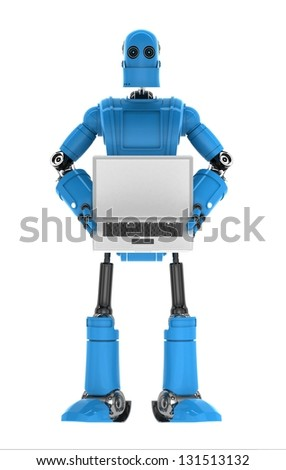 Robot holding laptop with copyspace available on the computer screen. Isolated