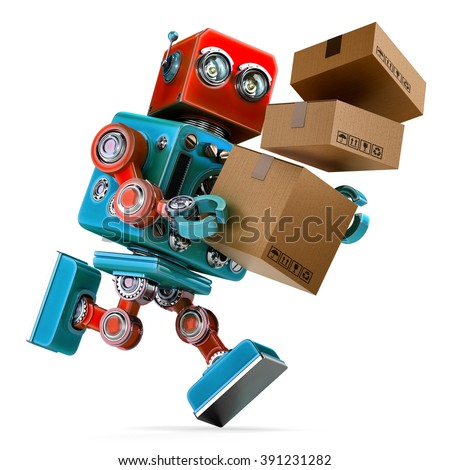 Robot in a rush delivering a package. Parcel Service. Isolated over white. Contains clipping path - stock photo