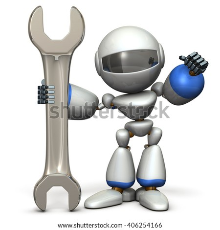 Robot is having a big tool. It is a symbol of technical capabilities. 3D illustration - stock photo
