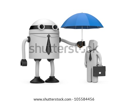 Robot is holding an umbrella over businessman. Image contain clipping path - stock photo