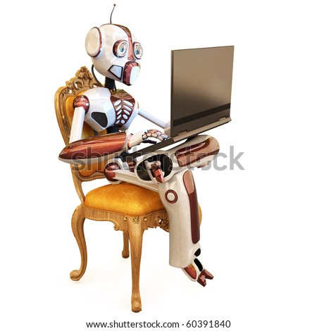 robot is sitting on a chair and holding a laptop. isolated on white. - stock photo