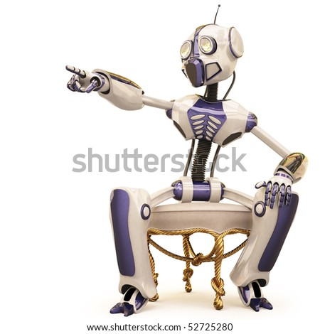 robot is sitting on a chair and pointed his finger. with clipping path. - stock photo