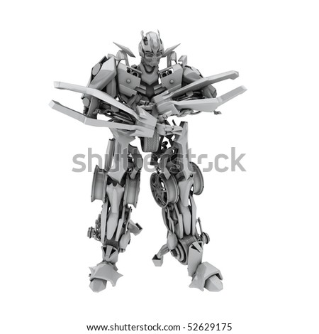 Robot isolated on white background. 3d rendered