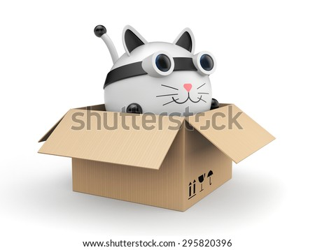 Robot kat in the cardboard box - stock photo