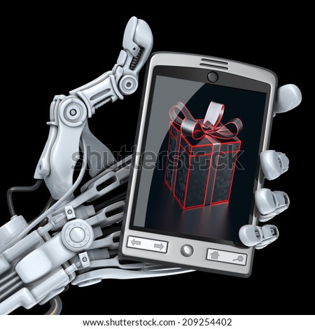 Robot keeps smart phone. On  the screen can see gift picture - stock photo