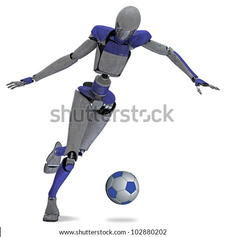 Robot leading soccer ball - stock photo