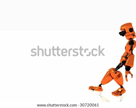 robot leaning - stock photo