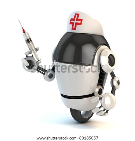robot nurse holding the syringe 3d illustration - stock photo