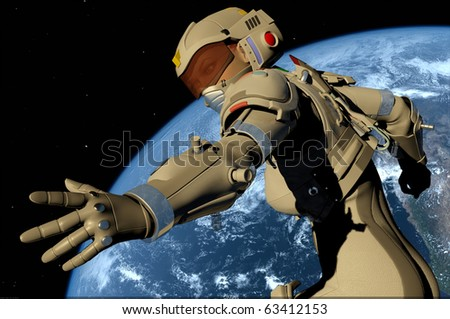 Robot  on a background of a planet
