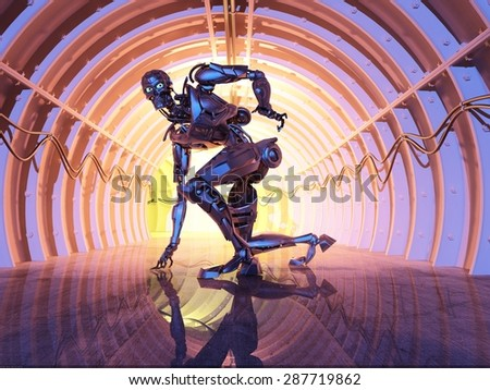 Robot  on the tunnel. - stock photo