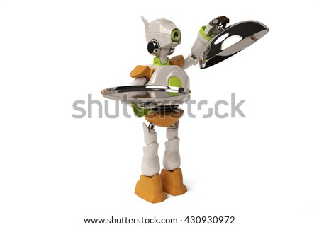 Robot open steel tray,3D illustration.