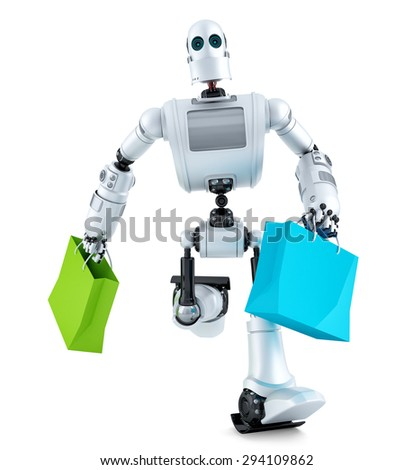 Robot running with shopping bag. Isolated over white. Contains clipping path - stock photo