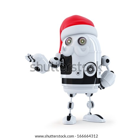 Robot Santa showing invisible object. Isolated on white
