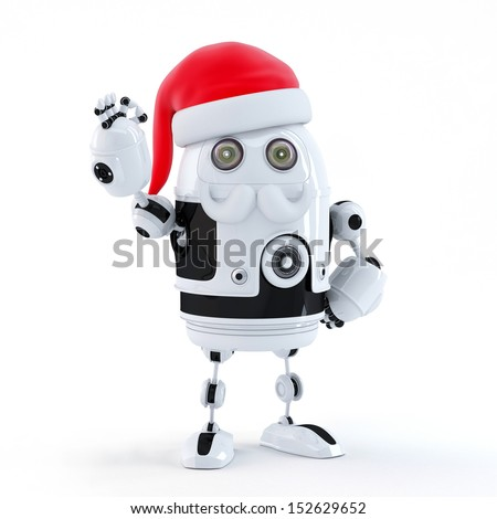 Robot Santa showing OK sign. Technology concept. Isolated - stock photo
