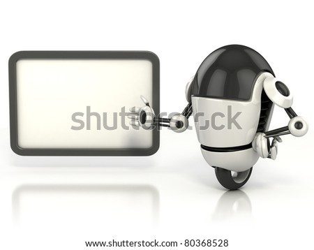 robot showing blank board - stock photo