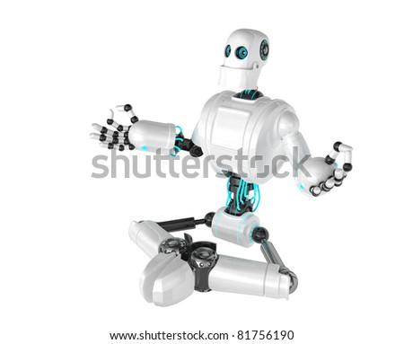 Robot sitting in lotus position. Isolated on white