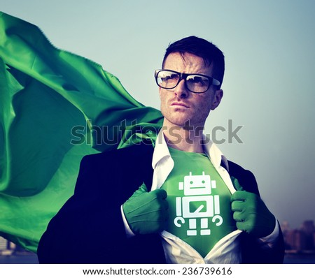 Robot Strong Superhero Success Professional Empowerment Stock Concept - stock photo