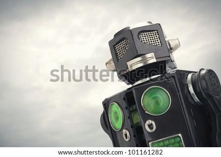 robot toy close up - stock photo
