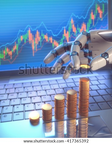 Robot Trading System On The Stock Market. 3D image concept of software (Robot Trading System) used in the stock market that automatically submits trades to an exchange without any human interventions.