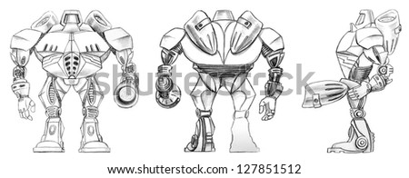 Robot transformer sketch. Front, back and side schematic views of a fantasy robot, pencil sketch. - stock photo