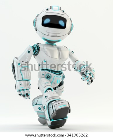 Robot walking. Whiteplastic material with blueillumination - stock photo