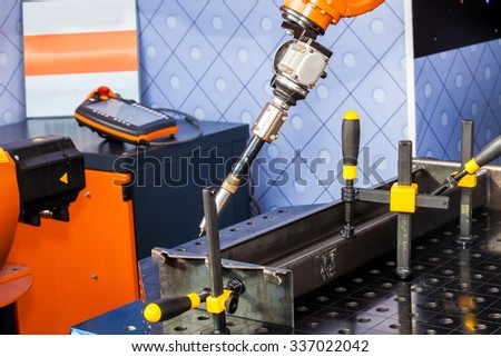 Robot welding process close up